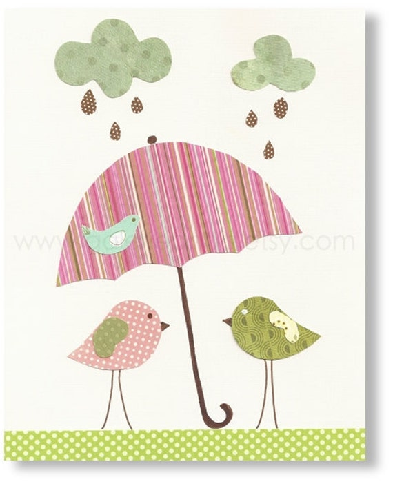 Nursery art prints - baby nursery decor - nursery art - Birds - Singing In The Rain print - by GalerieAnais