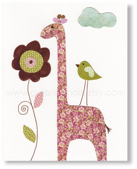 Nursery art prints - baby nursery decor - nursery wall art - kids art print - Giraffe print - Smells Good print from Paris