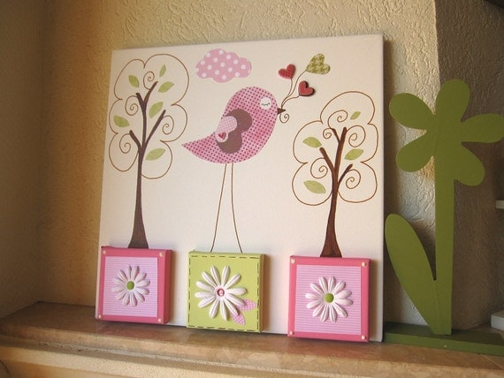 Unique Nursery Art Bird Canvas Kids Room Painting  - One of a Kind Enchanted Woods - 16x16