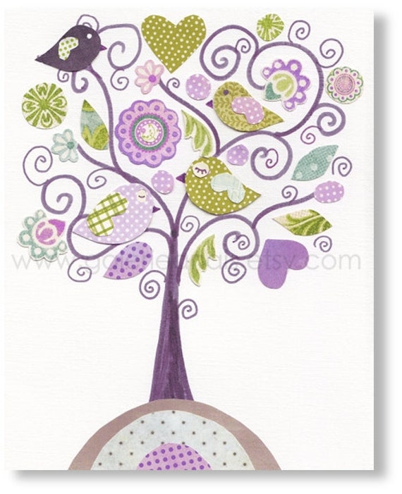 Baby girl Nursery art print - nursery decor - kids art - kids room decor - nursery wall art - Bird - Fantasy Tree print