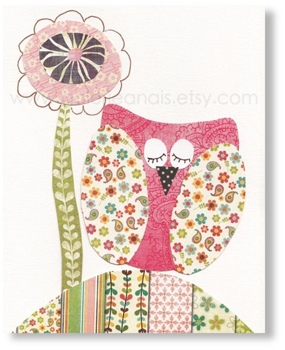 Owl nursery baby girl - art for children - pink flower decoration - animal wall art - Owl La La print