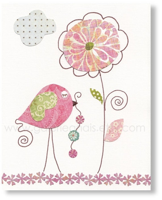 Baby Room Decor- Children Nursery Art- art for kids- nursery print- kids print- nursery decor- Birds- Pink- Delicate Flower print