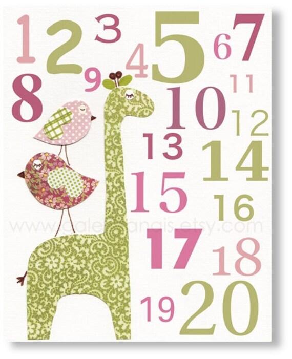 Baby Nursery Art Children Room Decor Numbers girl Birds nursery Giraffe pink green - Elegance Numbers  print from Paris