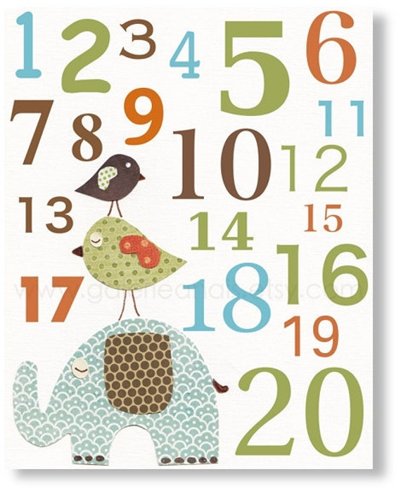 Baby nursery print - childrens art print - kids room decor - Numbers - Elephant - Birds - Best Friends Numbers print from Paris