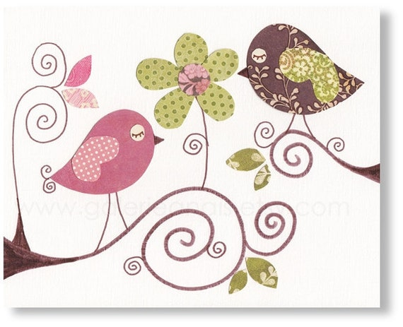 Art for children - nursery Decor - Art for kids room - nursery bird - kids birds - baby nursery art - baby art - Conversation print