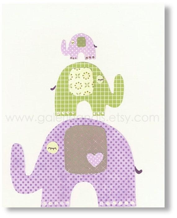 Nursery wall art - baby nursery decor - baby girls art - kids room decor - kids art - elephants nursery - purple green - The Trio print