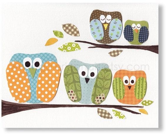 nursery art print- nursery decor- baby nursery print- kids art- kids room decor- nursery wall art- owl nursery- The Five Of Us