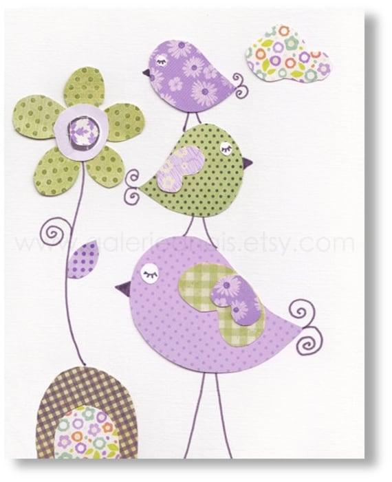 bird nursery  Purple and green girl bedroom - baby nursery print kids art - kids room decor flower - Tendresse