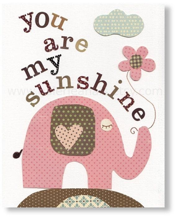 Nursery art prints - baby nursery decor - nursery wall art - children wall art - kids elephant - Birds - You Are My Sunshine print