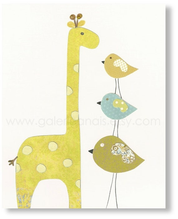 Baby Boy Nursery Decor Art Kids Art Kids Room By Galerieanais: Baby Boy Nursery Art Kids Wall Art Giraffe Nursery By