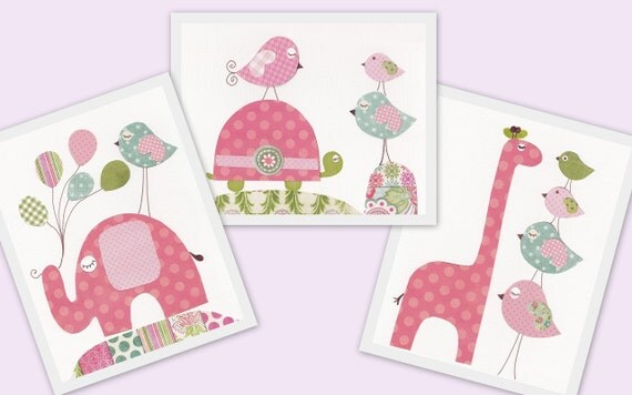 Nursery Decor baby nursery kids art children art balloon turtle elephant Bird giraffe Set Of 3 prints La Vie En Rose