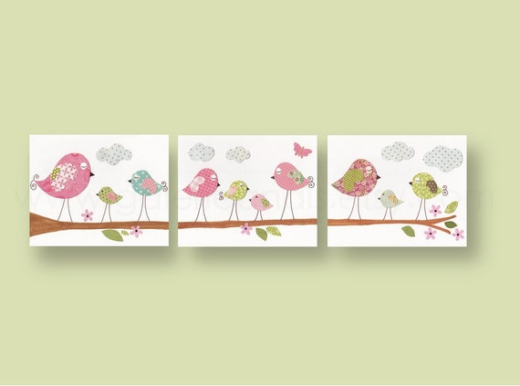 Nursery Wall Decor Set : Nursery art baby decor wall by