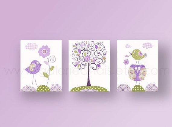 Baby Girl Nursery Art Nursery Decor Purple Green Baby Girl