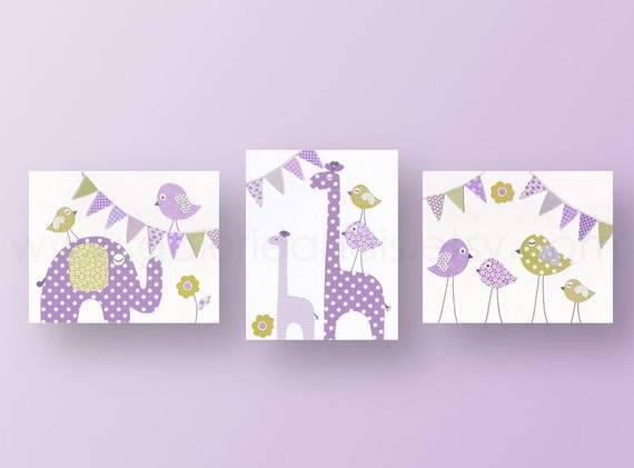 Nursery art baby nursery decor nursery wall art bird kids art baby art giraffe elephant Set of 3 Prints - Party Animals