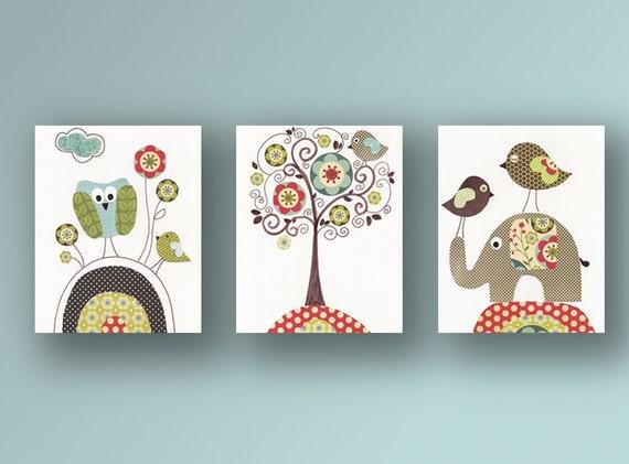 Vintage Tree - gender neutral - kids wall art - art for children - baby decoration - elephant nursery owl bird - Set of three prints