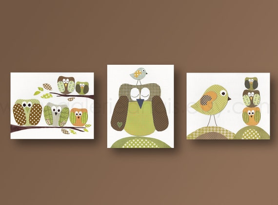 Elephant owl bird woodland Forest - art for children - green brown neutral nursery - baby room decor Kids art - Set of three prints