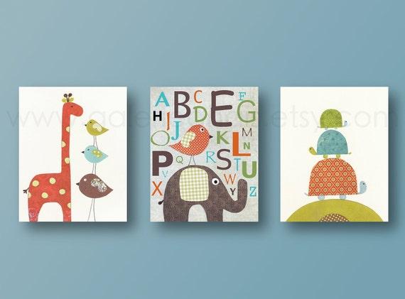 Elephant giraffe bird alphabet - personalized - baby nursery decor nursery print baby room decor Kids art - Set of three prints