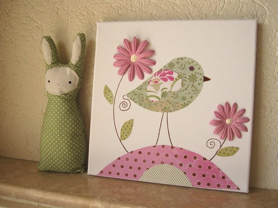 Baby girl room art nursery canvas bird la promenade 10x10 for Baby girl nursery paintings