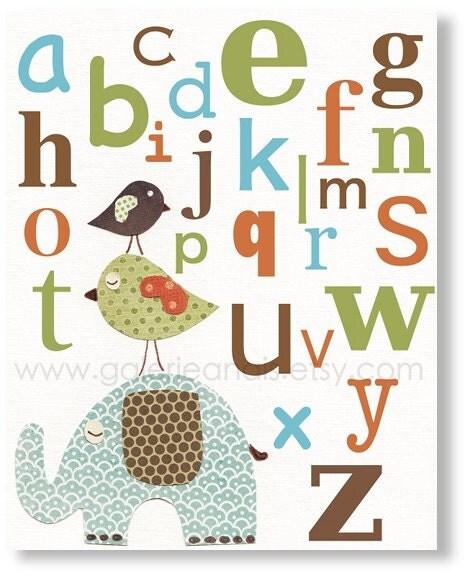 Baby Nursery Art Print Dog Abc Nursery Decor Alphabet Print: Kids Art Alphabet Nursery Decor Baby Nursery By GalerieAnais