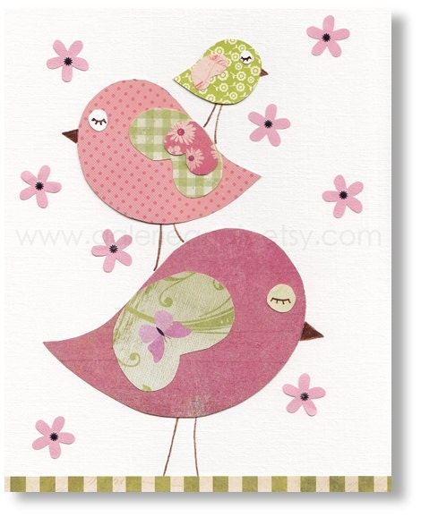 Nursery Art For Children Kids Wall Art Baby Girl Nursery Baby: Baby Girl Nursery Decor Bird Nursery Art Kids Wall By