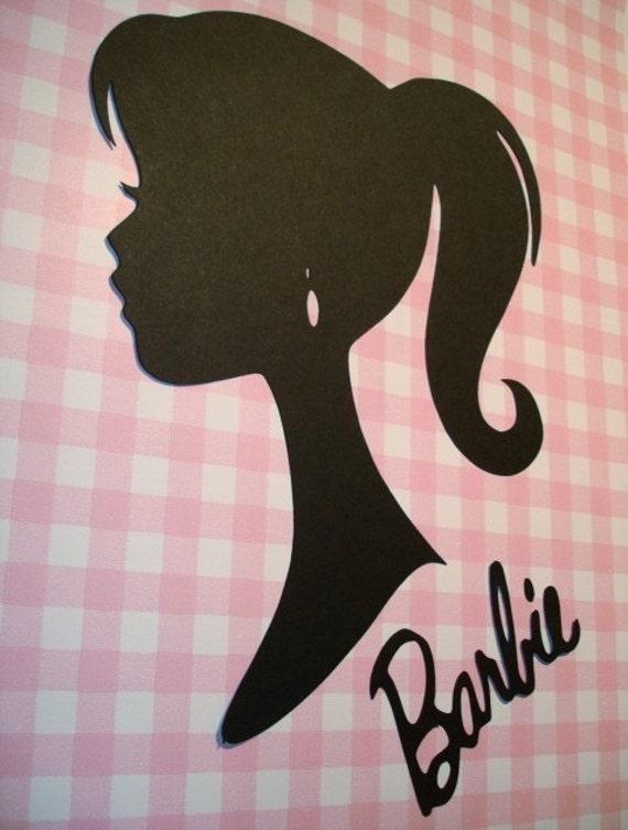 Barbie Silhouette Die Cut Paper Cuttings 9 inch tall to frame