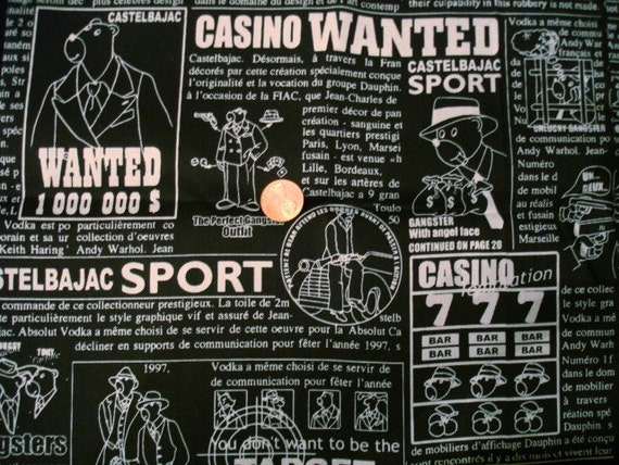 Black and White Gangster Print Fabric