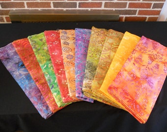 "BATIK Jewel Tone 100% quilt woven Cotton Fabric 1 yd x 44""wide Grp B FREE SHIP"