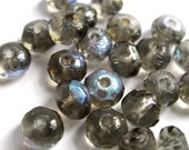 Black Diamond Smoky Grey AB Fire Polished Rondelle Beads 3 x 5 mm (25)
