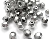 RESERVED FOR DIVAE ------ Metallic Silver Coated Fire Polished Faceted Glass Beads 4mm (300)