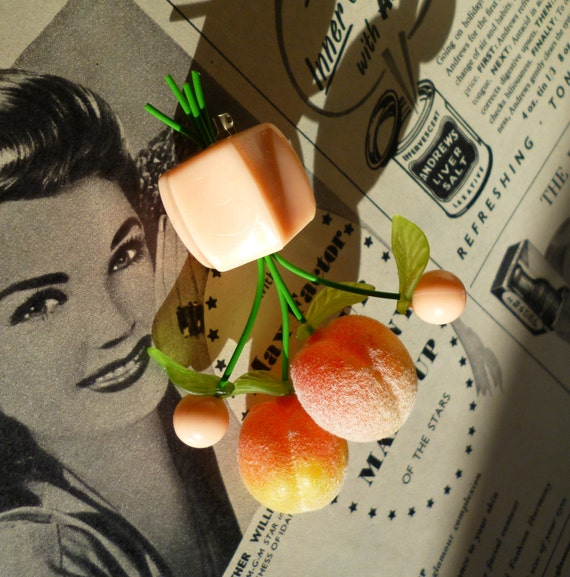 Peachy keen Beautiful tutti fruitti 1940's style brooch handmade with vintage fruit and beads