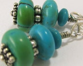 Spring Green Turquoise Modern long Southwestern dangle Earrings