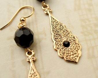Antoinette.   Etched Gold Earrings with Black Crystals