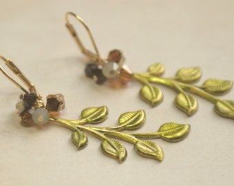 Dyed Brass Leaf Earrings With Swarovski Crystals