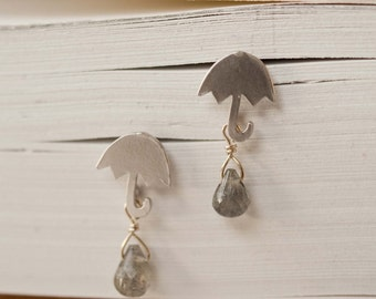 Gabrielle.  Silver Umbrella Earrings with Labradorite