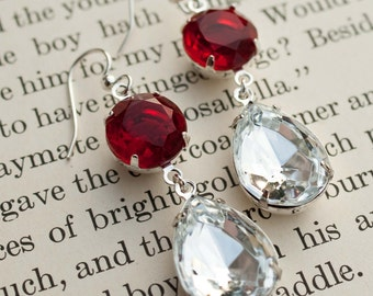 Ruby Red and Crystal Rhinestone Earrings