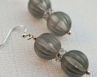 ON SALE Gray Vintage Lucite Earrings with Swarovski Crystal