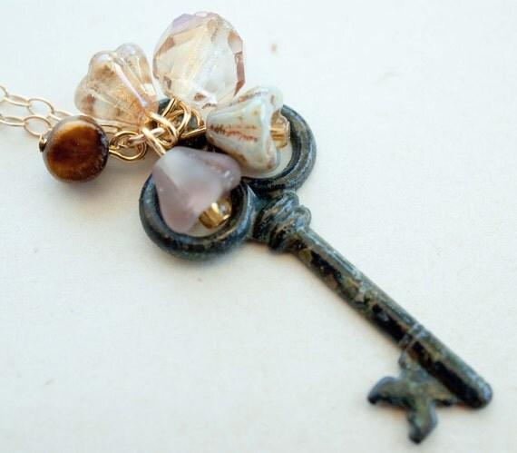 Small Patina Skeleton Key Pendant Necklace