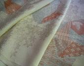 Vintage silk Japanese kimono fabric (flowers and embroidery)