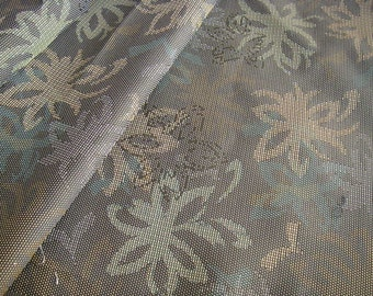 Vintage silk Japanese kimono fabric (green flower)