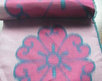 Vintage silk Japanese kimono fabric (pink flower)half width