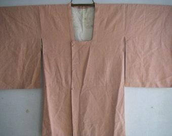 Vintage Japanese silk Haori kimono Jacket with pocket(pink)never used