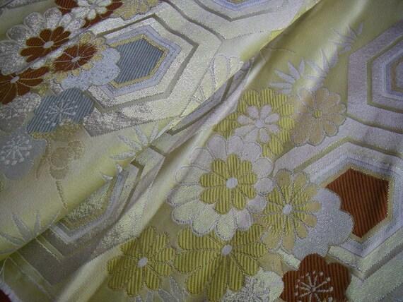 Vintage silk Japanese kimono obi fabric (gold embroidery flowers)