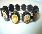 Wooden Medieval Rosary Saints Bracelet ( Dark Brown )