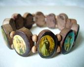 Wooden Rosary Saints Bracelet ( Brown Oval )
