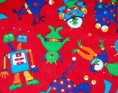 RESERVED LISTING  for Quirkybags The Martians Have Landed Quilting Fabric  in Primary Colors - A VIP Print