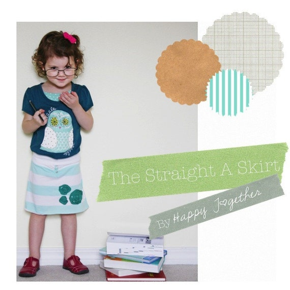 The Straigh A Skirt Pattern PDF sizes 12 months to 12