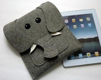 Elephant iPad Air / 2 / 3 / 4 felt case // Felt sleeve or purse