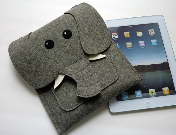 funda ipad fieltro elefante
