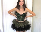 Peacock Feather Bustier and Skirt