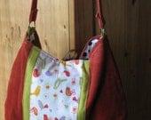 Pumpkin Corduroy Happy Birdie Hobo Bag- Reversible